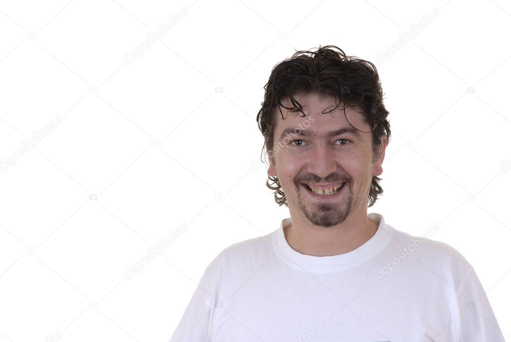 Happy young adult in a white background — Stock Photo #4894596