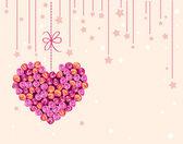 花の心とベクトル バレンタインの背景 — ストックベクタ