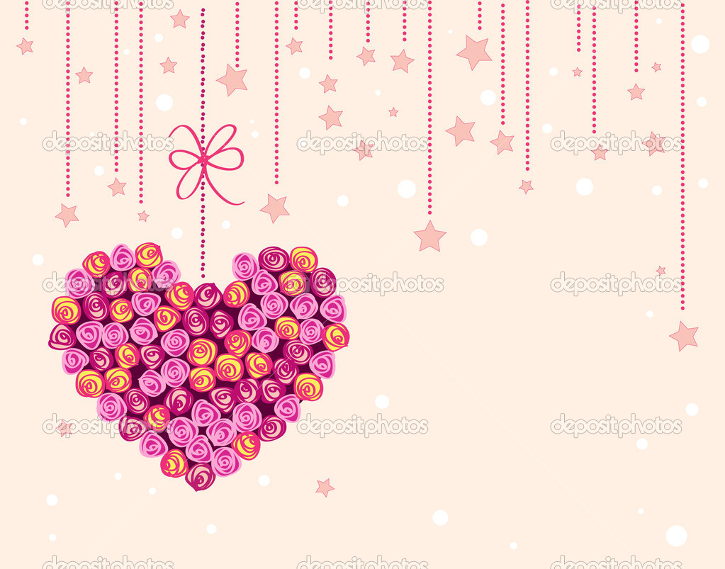 Vector valentine background with floral heart — Stok Vektör #4209353
