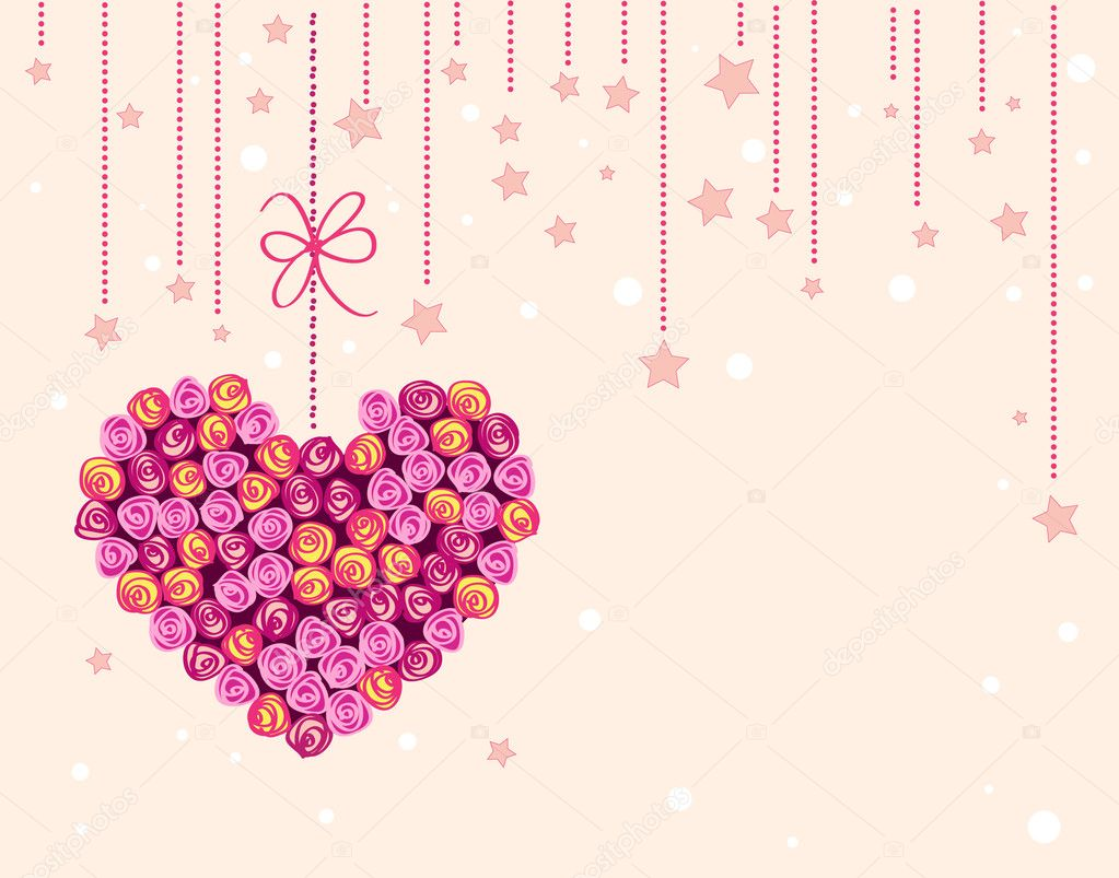 Vector valentine background with floral heart  Stockvectorbeeld #4209353