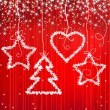 Royalty-Free Stock Vector Image: Christmas red sparkle background with tree, star, heart