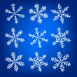 Stock Vector: Snowflake white and blue winter vector set