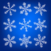 Snowflake white and blue winter vector set — Stock Vector