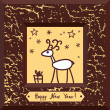 Christmas deer and gift in frame - Imagen vectorial