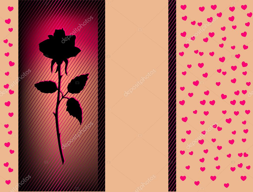 Vector Card With Red heart and black Rose — Stock Vector #4561600