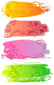 Flower and heart banners — Stock Vector
