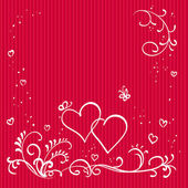 Red valentine background with hearts — Stock Photo