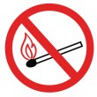 No smoking sign, no fire, no match, vector symbol — Stock Vector