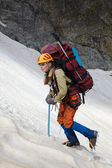 Mountaineer girl in a mountains — Stock Photo