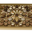 Chocolate candy box over white with clipping path. — Stock Photo