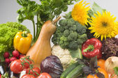 Big group of vegetable food objects — Stock Photo