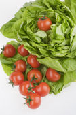 Green lettuse salad and tomato fresh food isolated over white — Stock Photo
