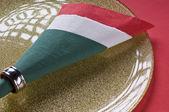 Italian flag made from paper napkin — Stock Photo