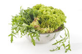 Fresh raw herbs and vegetables — Stock Photo
