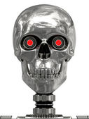Metallic cyborg head with red eyes — Stock Photo