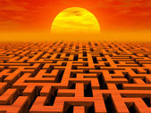 Labyrinth at sunset — Stock Photo