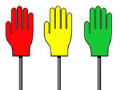 Red, yellow and green palm signs — Stock Photo
