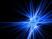 Blue fractal star burst on black background — Foto de Stock