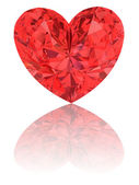 Red diamond in shape of heart on glossy white — Stock Photo