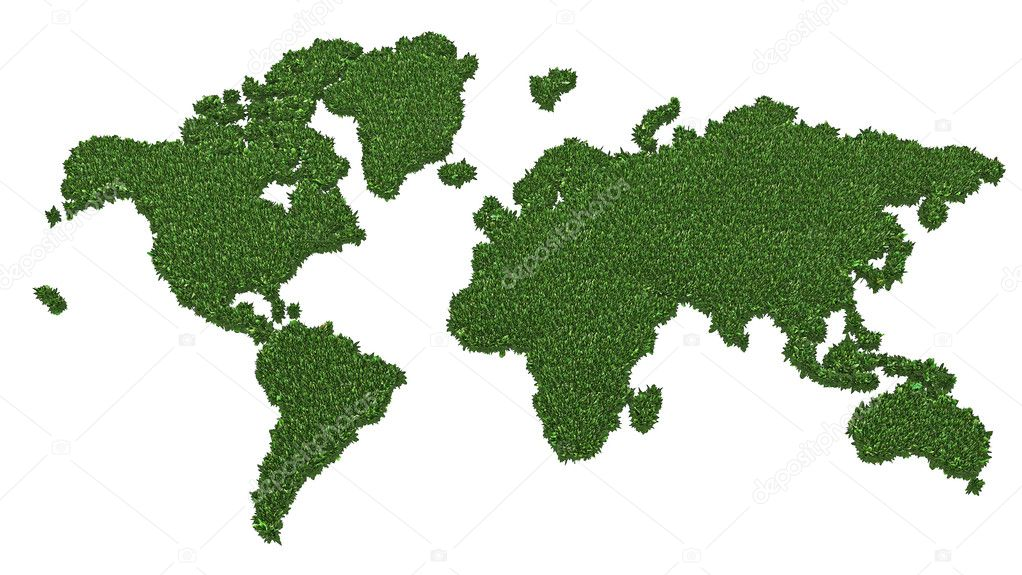 World map made of green grass isolated on white background. High resolution 3D image — Lizenzfreies Foto #5033784