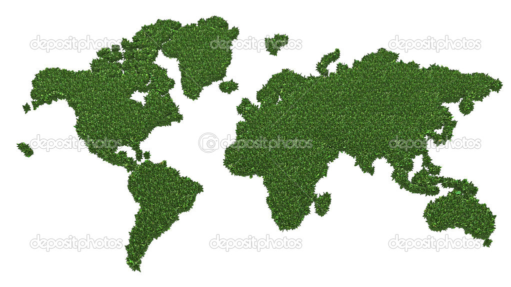 World map made of green grass isolated on white background. High resolution 3D image — Stockfoto #5033784