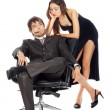 Young business couple in thought isolated on white — Stock Photo