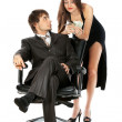 Lucky attractive business couple isolated on white — Stock Photo