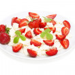 Cottage cheese with strawberries isolated on white — Stock Photo #4019178