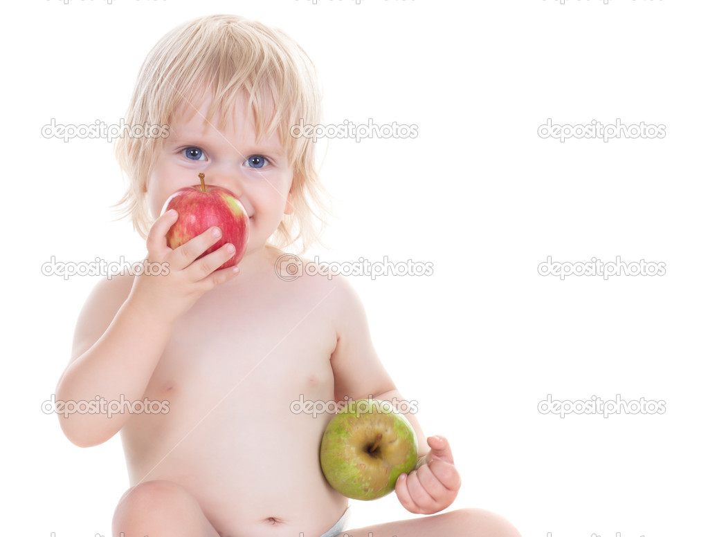 Adorable baby girl with the apples isolated on white  Stock Photo #4187246
