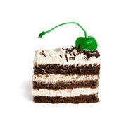 Chocolate cake, decorated with mint green marzipan cherries — Stock Photo