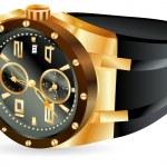 Golden man watch — Stock Vector