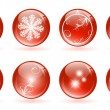Christmas glossy balls — Stock Vector