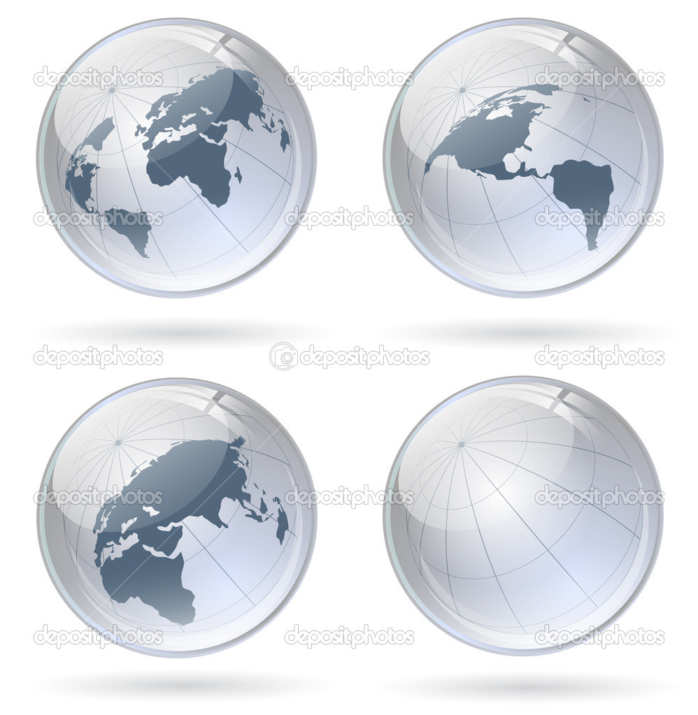 World globe glossy balls — Stock Vector #4413713