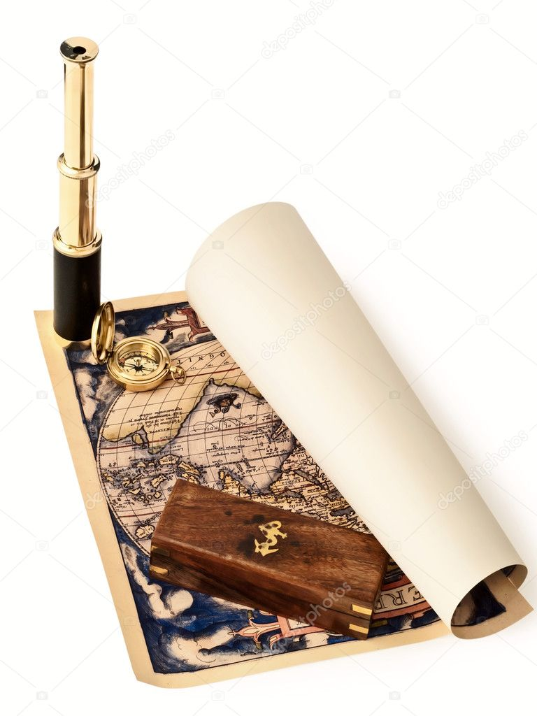 Travelling theme: vintage telescope and compass at antique map  Stock Photo #4547201