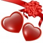 corazones con arco — Vector de stock