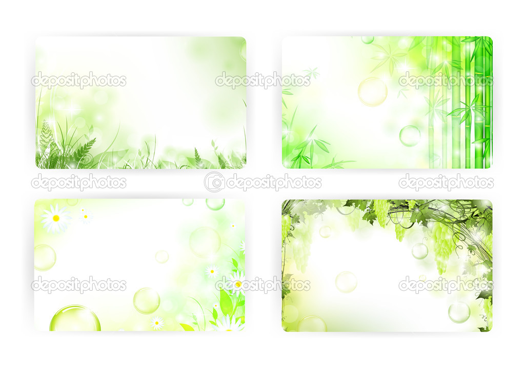 Floral gift or credit card templates, size 3 3/8 x 2 1/8 (86 x 54 mm) — Stock Photo #4752127