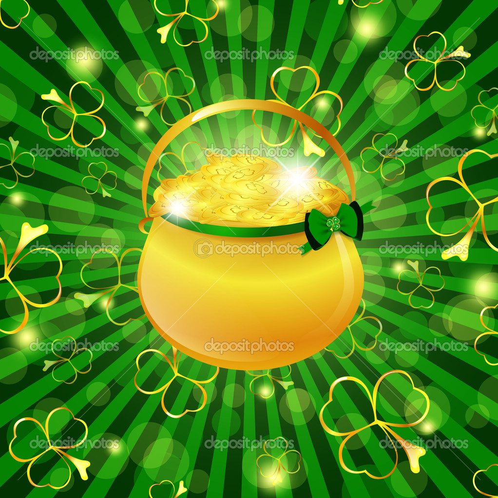 St.Patrick day theme: golden pot with money over green background with shamrocks — Stock Vector #4983634