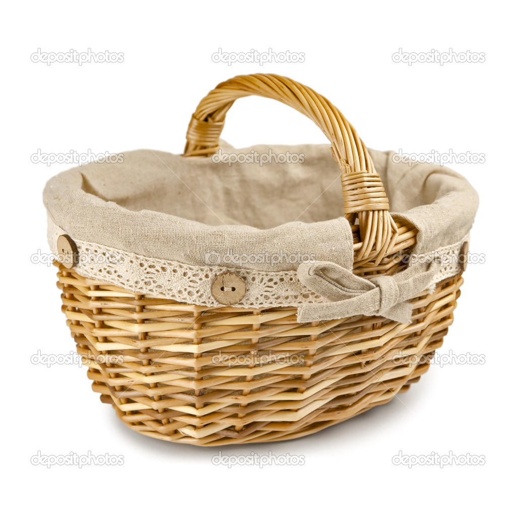 Handmade wicker basket over the white background — Stock Photo #5075751