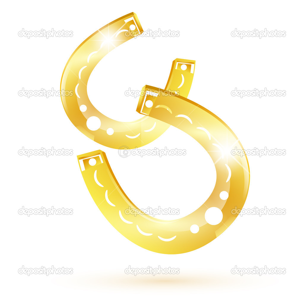Two golden lucky horseshoes over white background  Stock Vector #5075780