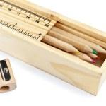 Pencil case with colour pencils — Stock Photo #5225905