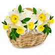 Flowers in the wicker basket - Stock Photo