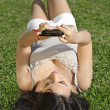 Girl with Cell Phoneon — Stock Photo