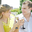 Young couple with champagne — Stock Photo