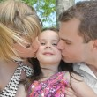 Kissing family — Stock Photo