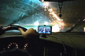 Inside a car with gps — Stock Photo