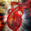 Human heart with ECG — Stock Photo