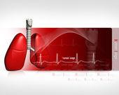 Ludzkie płuca z ekg — Zdjęcie stockowe