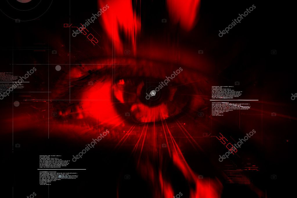 Digital illustration of an eye scan as concept for secure digital identity	  Stock Photo #4537737