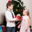 Girl and boy near a fir-tree — Stock Photo #4389511