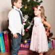 Stockfoto: Girl and boy near a fir-tree
